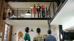 4K Portrait of smiling hipster business team in creative office Arkistovideo