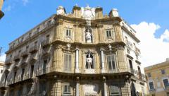 Pan shot at the Quattro Canti intersection in Palermo, Sicily, Italy. Stock Footage