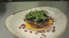 Home Made  Burger with Pomegranate and Arugula Stock Footage