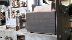 Insides of antique vacuum tube radio set Stock Footage