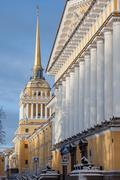 The  building of Admiralty in winter morning, Saint-Petersburg, Russia Stock Photos