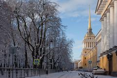 Admiralty in winter, Russia. St. Petersburg. Stock Photos