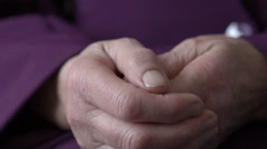 Old woman young girl hold hand wrinkle skin close up. Slowly - stock footage