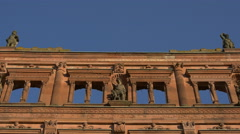 Statues of men on a ruined wall at Heidelberg Castle Stock Footage