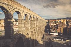 Segovia, Spain -June 21, 2014:The famous ancient aqueduct in Segovia, Castill Stock Photos