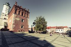 SANDOMIERZ, POLAND - AUGUST 30:Part of old town in Sandomierz is among oldest - stock photo