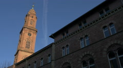 Beautiful view of the bell tower of Jesuitenkirche in Heidelberg Stock Footage
