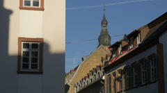View of top of Church of Holy Spirit in Heidelberg Stock Footage