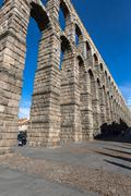 Segovia, Spain - May 6: The Roman Aqueduct of Segovia and the square of the A Stock Photos