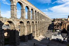 Segovia, Spain - May 6: The Roman Aqueduct of Segovia and the square of the A Stock Photos