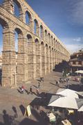 Segovia, Spain - May 6: The Roman Aqueduct of Segovia and the square of the A - stock photo