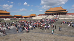 Large crowds visit the Forbidden City palace in Beijing, China Stock Footage