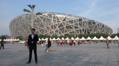Iconic Bird's Nest Stadium at Olympic sports park in Beijing, China Stock Footage