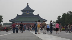 Tourists visit the Temple of Heaven in Beijing, China Stock Footage
