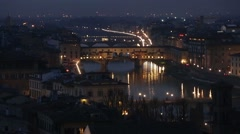 Night  Florence Top View (Italy). - stock footage