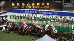 Start of a horse race, gates open gambling sports Hong Kong China Stock Footage