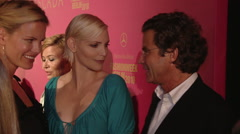 Nadja Auermann, Florian Langenscheidt and Miriam at Escada Fashion Week 2009 Stock Footage