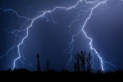 Double Trouble Cloud to Ground Lightning Stock Photos