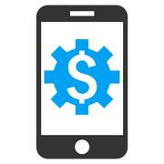 Mobile Bank Setup Flat Vector Icon Stock Illustration