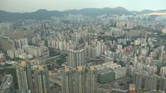 Hong Kong skyline, urban landscape, office and residential towers in Kowloon Stock Footage