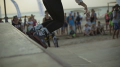 Young girl Demonstrates Rollerskating on a Ramp During the competition. Slow Stock Footage