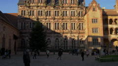 Building with sculptures of Biblical figures at Heidelberg Castle - stock footage