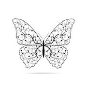 Beautiful butterfly with floral pattern - stock illustration