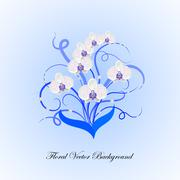Decorative bouquet of white orchid Stock Illustration