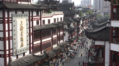 Popular shopping street, traditional architecture, weekend, Shanghai, China Stock Footage