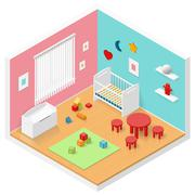 Child playroom isometric icon set - stock illustration
