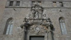 The sculptures and bas reliefs of Iglesia de los Santos Juanes, Valencia Stock Footage