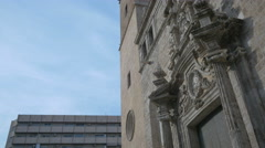 Low angle view of The Santos Juanes church's sculptures in Valencia Stock Footage