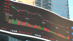 China, Shanghai stock exchange, graph, electronic ticker board, economy Stock Footage