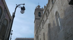 Low angle view of The Santos Juanes church's belfry in Valencia Stock Footage