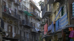 Via Calderai. Street with laundry hanging in Palermo, Sicily, Italy. - stock footage