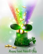 St Patricks day green hat  with rainbow - stock illustration