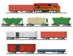 Collection of freight railway cars. Isolated on white background. Stock Illustration