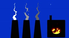 Cartoon Factory Smokey Chimneys and Melting pot on a Blue Screen Background Stock Footage