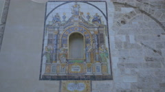 Beautiful mosaic on Santa Catalina church in Valencia Stock Footage