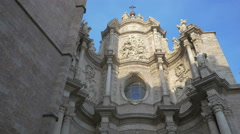 Low angle view of Valencia Cathedral - stock footage