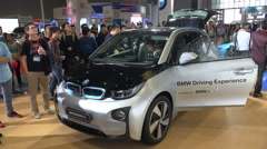 An electric BMW car on display at a trade show in Shanghai, China Stock Footage