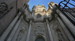 Low angle view of Puerta de los Hierros's sculpture at Valencia Cathedral Stock Footage