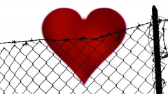 Fence Valentine heart beat Stock Footage