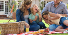 Happy family having pic nick Stock Footage
