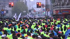 Massive crowds run Shanghai marathon, event, people, sports, China, Asia Stock Footage