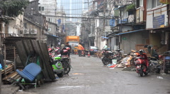 Old neighborhood in Shanghai, disappearing quarter, homes, houses, China Stock Footage
