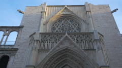 The Apostles' Doorway and the rosette of Valencia Cathedral Stock Footage