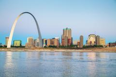Downtown St Louis, MO with the Gateway Arch Stock Photos