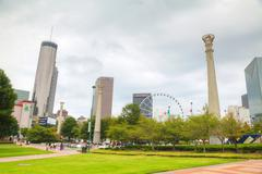 Centennial Olympic park with people in Atlanta, GA Stock Photos