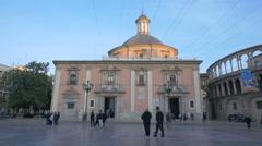 Basílica de la Virgen de los Desamparados in Valencia Stock Footage